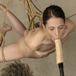 Flying bondage babe  madison gets suspended and teased with a thick dickonastick. Madison gets suspended and teased with a thick dick-on-a-stick