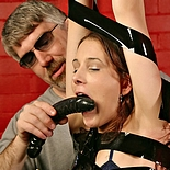Asymmetric suspension  lustful madison is winched in the air to expose her anally for spanking. Excited Madison is winched in the air to expose her anus for spanking